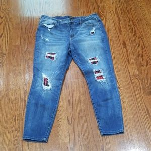 Judy Blue red plaid jeans